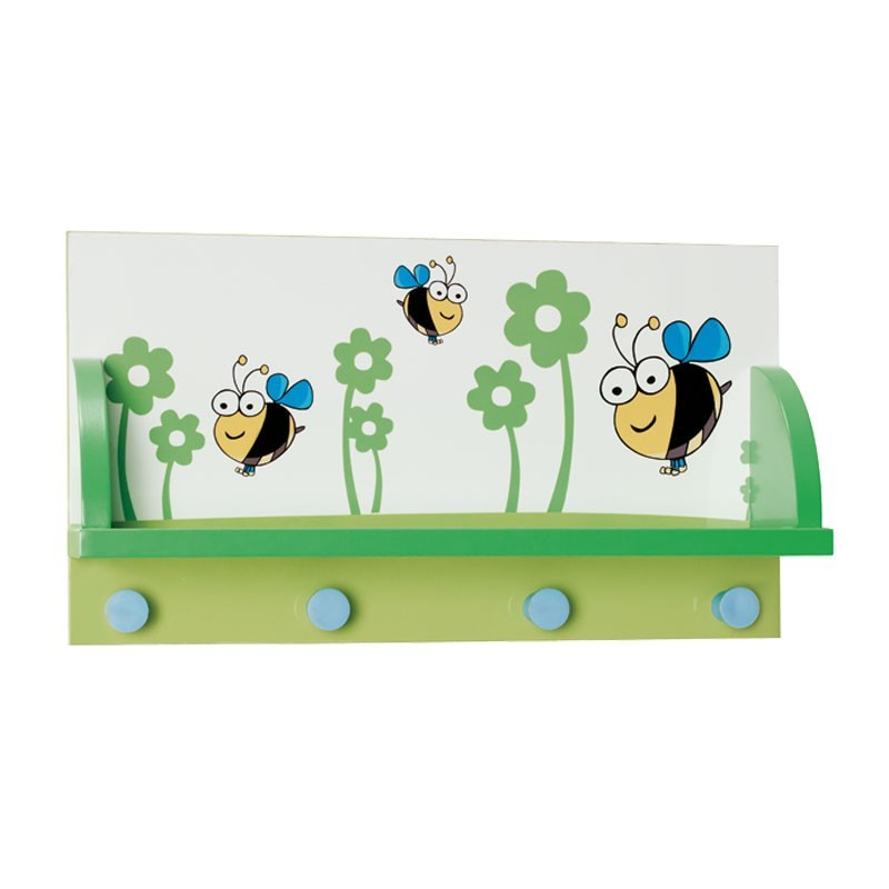 perchero de pared infantil 46x24 cm con estante y 4