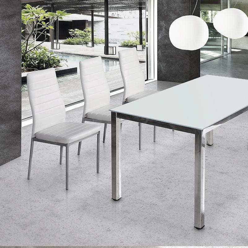 Silla de cocina o comedor con asiento de polipiel 79300 01 for Sillas metalicas para comedor