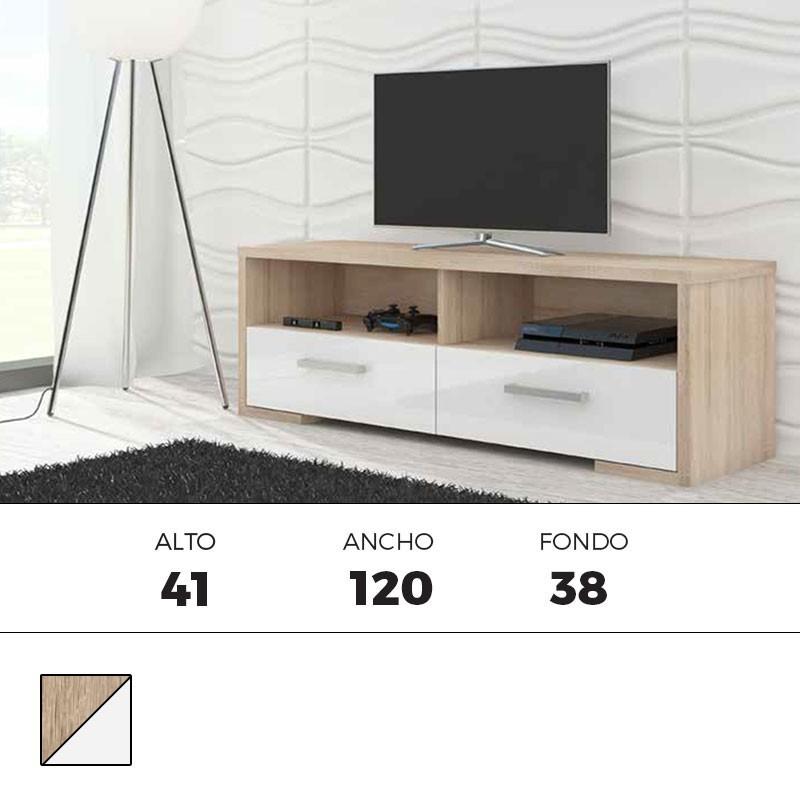 Mueble bajo tv cambrian blanco 2 cajones 67220 for Mueble bajo salon blanco