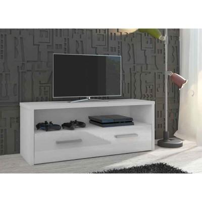 Mueble bajo tv blanco lacado 1 puerta 67230 for Mueble tv 100 cm