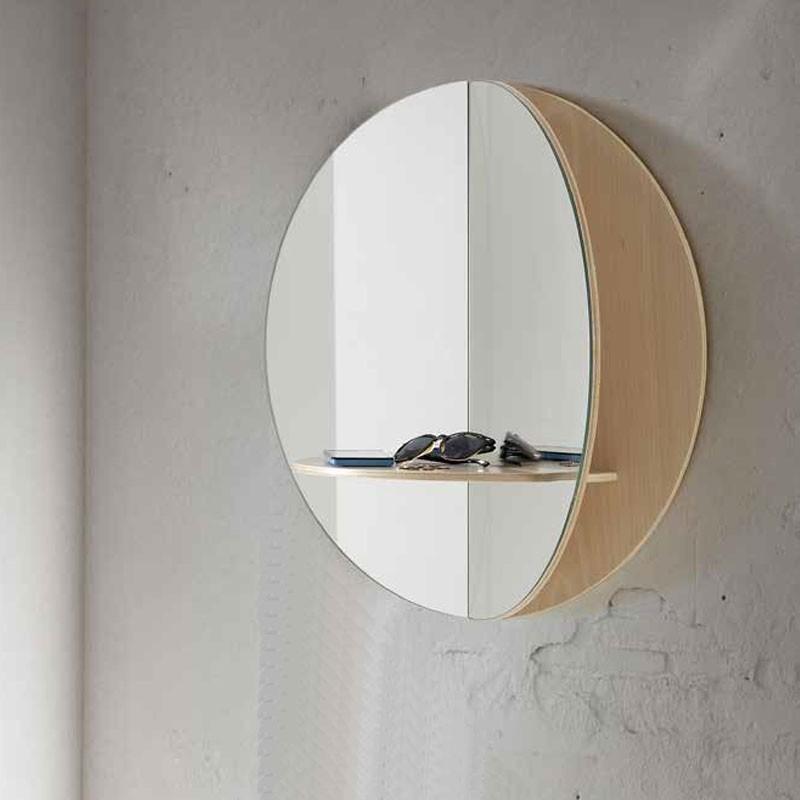 recibidor con espejo redondo dividido y estante 773