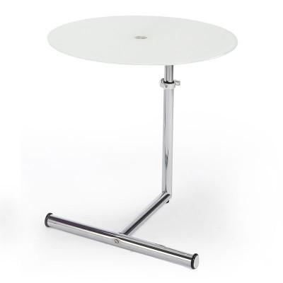Mesa auxiliar redonda ajustable de metal cromado y cristal - Mesas auxiliares redondas ...