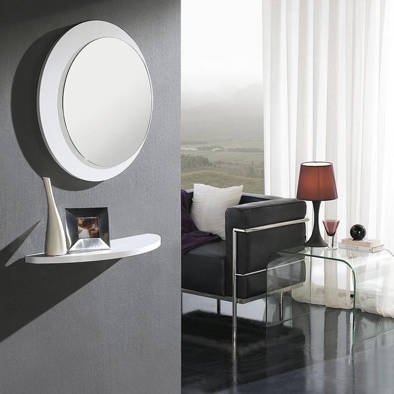 conjunto recibidor estante espejo redondo comprar ahora