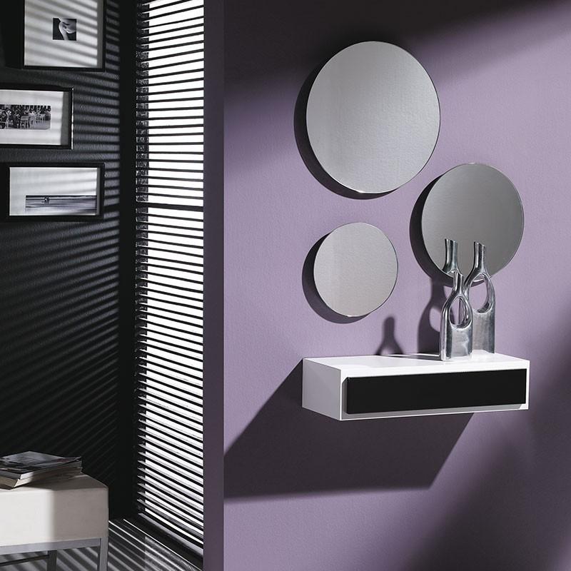 conjunto recibidor consola caj n 3 espejos redondos
