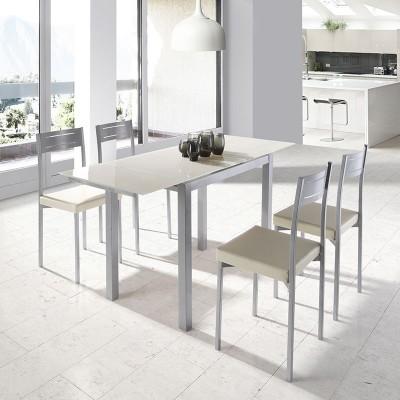 Conjunto de cocina mesa extensible cristal y 4 sillas for Modelos de sillas para cocina