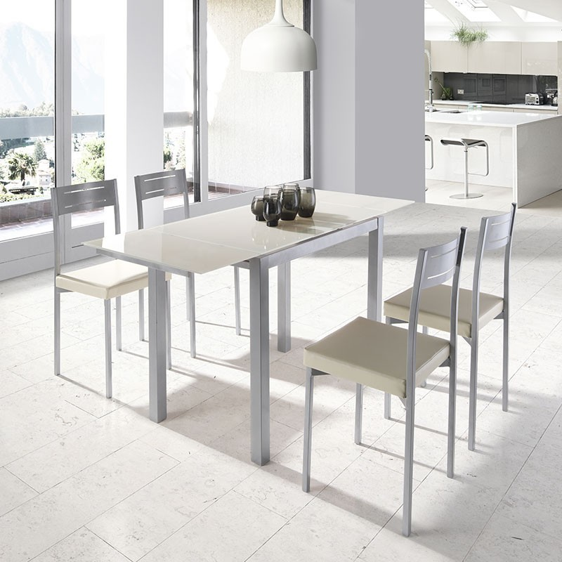 Conjunto de cocina mesa extensible cristal y 4 sillas for Mesas redondas de cocina de cristal