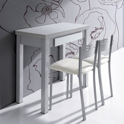 Conjunto mesa libro de cristal y mdf para cocina con 2 - Mesa cocina con taburetes ...