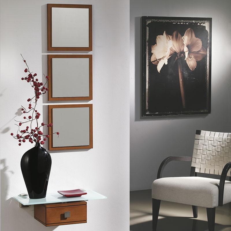 conjunto recibidor espejos consola cristal cm cajn