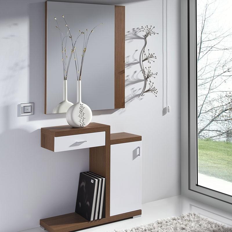 Conjunto recibidor espejo consola con caj n y armario - Recibidor con armario ...