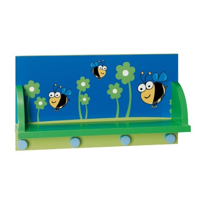 Perchero de Pared Infantil con Estante y 4 Perchas 90361