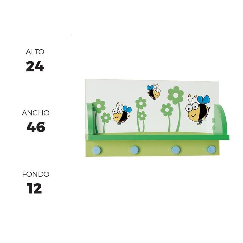 Perchero de pared infantil 46x24 cm con estante y 4 - Perchero pared infantil ...