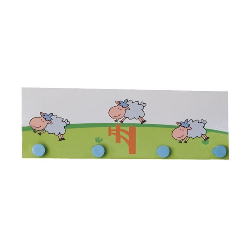 Perchero de pared infantil de 42 x 16 cm con 4 perchas mod - Perchero infantil pared ...