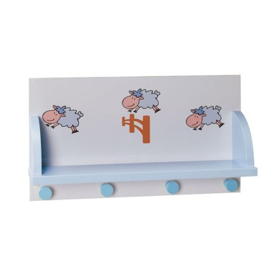 Perchero de Pared Infantil con Repisa y 4 Perchas 90371