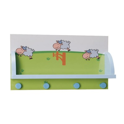 Perchero de Pared Infantil con Repisa y 4 Perchas 90372