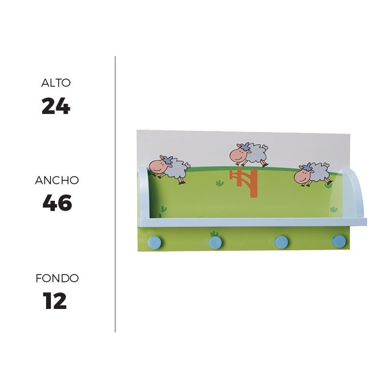 Perchero de pared infantil 46x24 cm con repisa y 4 perchas - Perchero infantil pared ...