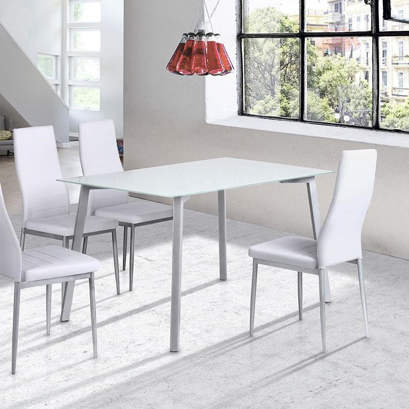 Silla de cocina o comedor con asiento de polipiel 79300 01 for Mesas de comedor altas