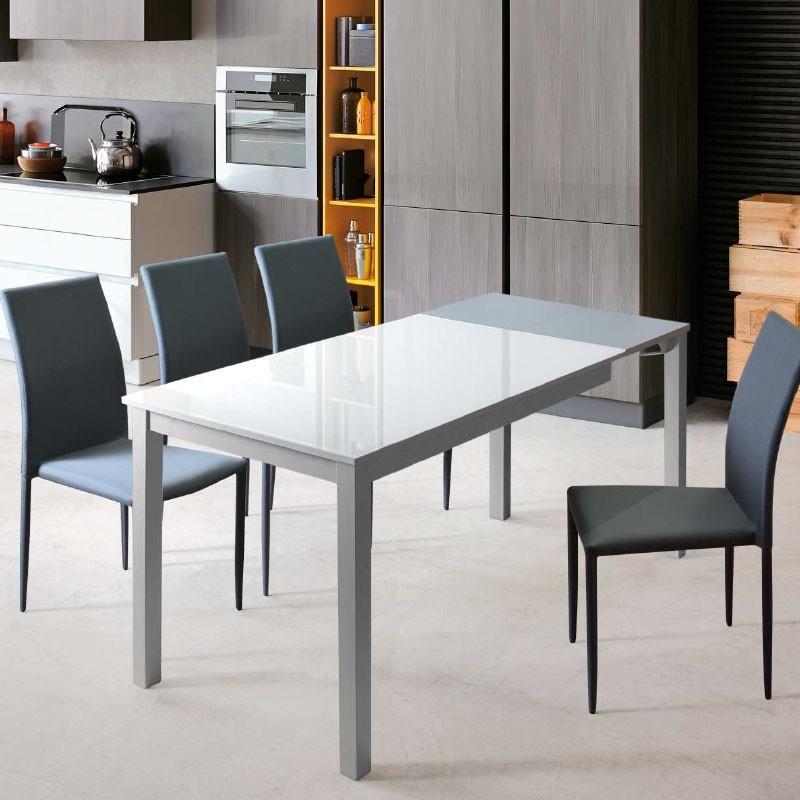 Mesa de cocina doble extensor duplo - Mesa cristal templado ...
