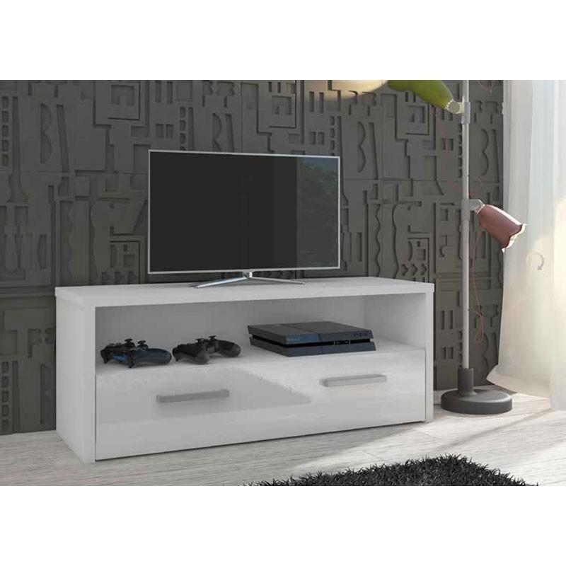 Mueble bajo tv blanco lacado 1 puerta 67230 for Mueble tv lacado blanco