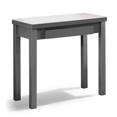 Mesa de cocina con cristal y ala extensible de madera 75830 for Mesa cristal y madera