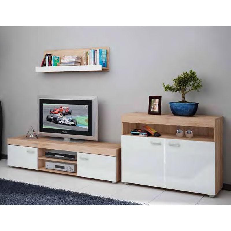 Conjunto muebles sal n madera cambrian y blanco - Muebles salon blanco y madera ...
