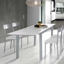 Mesa de Cocina de Cristal Extensible Blanco 75810