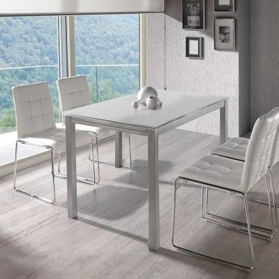 Mesa de Cocina Extensible Cristal Blanco 75780