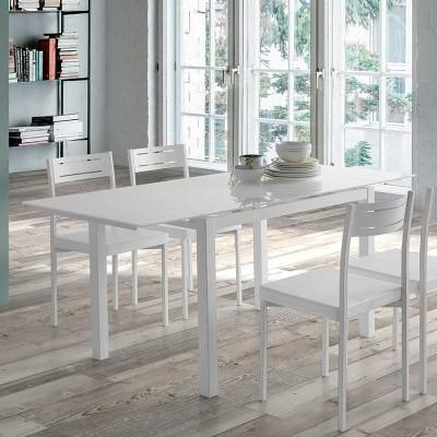 Mesa de Comedor Cristal Blanco Extensible 75790