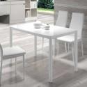 Mesa de Cocina con Cristal Blanco 75951