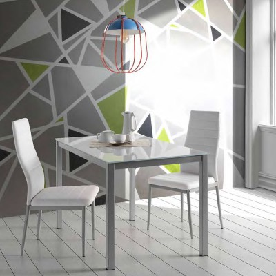 Mesa de Cocina con Cristal Blanco 75952
