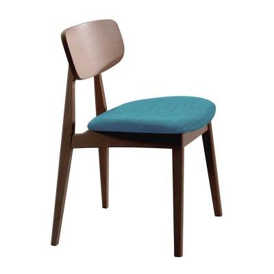 Silla de Comedor Madera Haya y Textil Azul 79371