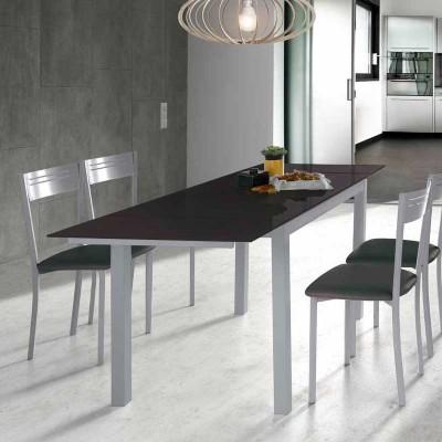 Mesa de Cocina de Cristal Extensible Negro 75812