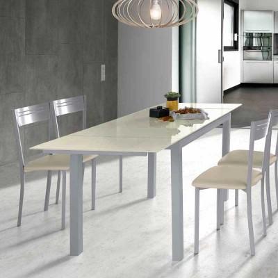 Mesa de Cocina de Cristal Extensible Beige 75814
