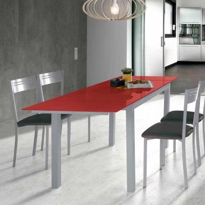 Mesa de Cocina de Cristal Extensible Rojo 75815