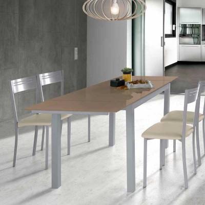Mesa de Cocina de Cristal Extensible Moka 75816