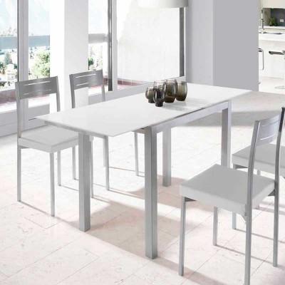 Mesa de Cocina de Cristal Extensible Blanco 75870