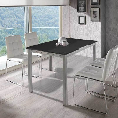 Mesa de Cocina Extensible Cristal Negro 75781