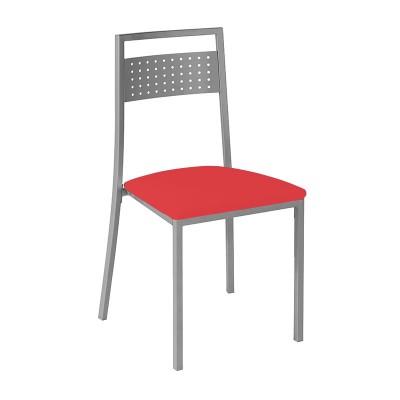 Silla de Cocina Gris Cromo Tapizado Rojo 79385