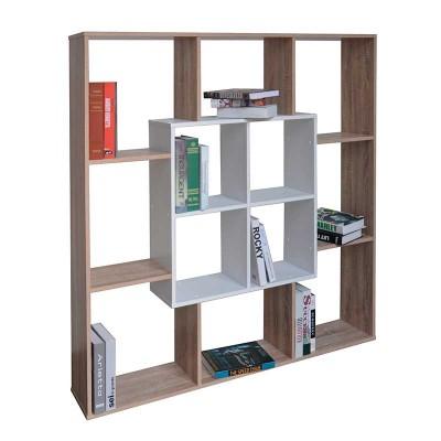 Librería Cuadrada en Madera Roble y Blanco 74400
