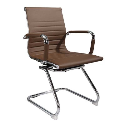 Silla Confidente Piel Sintética Chocolate Executive 75689