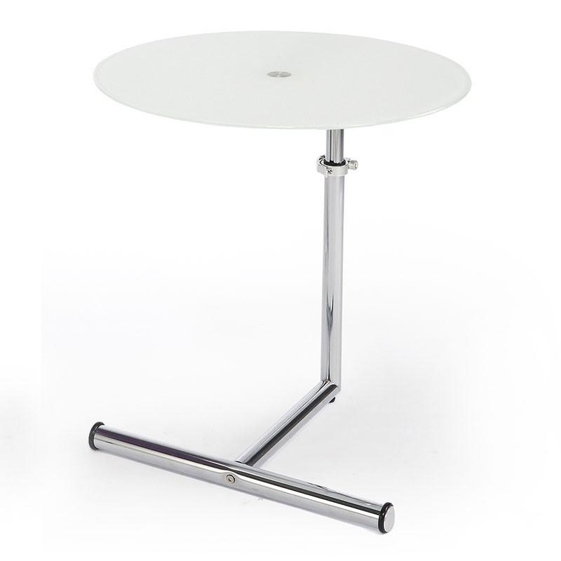 Mesa auxiliar redonda ajustable de metal cromado y cristal for Mesas redondas de cristal