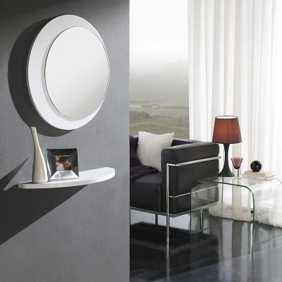 Conjunto Recibidor Estante + Espejo Redondo