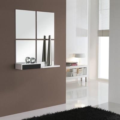 Conjunto Recibidor Cajón + Estante + 4 Espejos Cuadrados