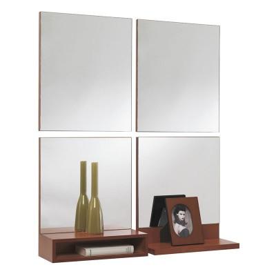 Conjunto Recibidor Consola + Estante + 4 Espejos Cuadrados