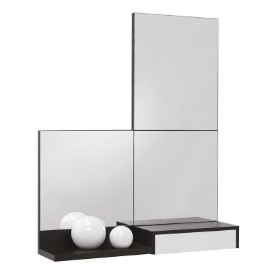 Conjunto Recibidor Cajón + Estante + 3 Espejos Cuadrados