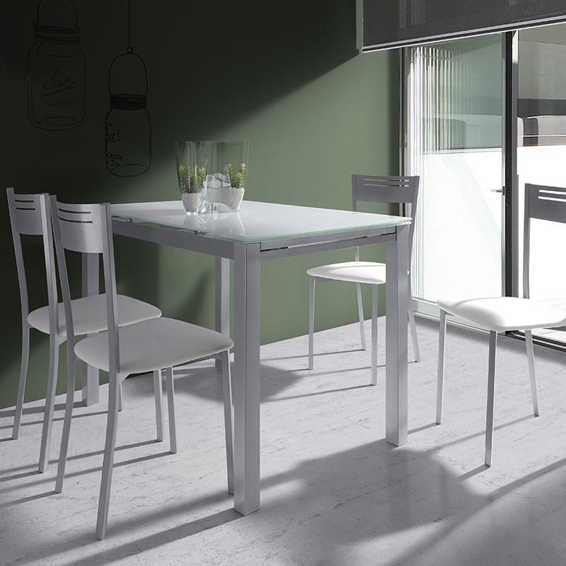Conjunto mesa de cristal extensible de cocina y 4 sillas for Conjunto mesa extensible y sillas cocina