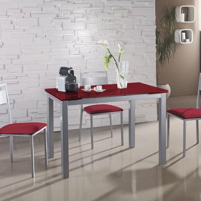 Conjunto cocina mesa de cristal alas extensibles y 4 sillas for Conjunto mesa extensible y sillas cocina