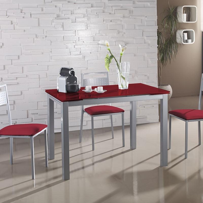 Conjunto Cocina Mesa de Cristal Alas Extensibles y 4 Sillas