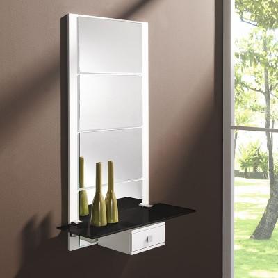 Conjunto Recibidor Espejo + Estante de Cristal + Cajón
