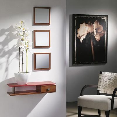 Conjunto Recibidor 3 Espejos + Estante de Cristal + Cajón