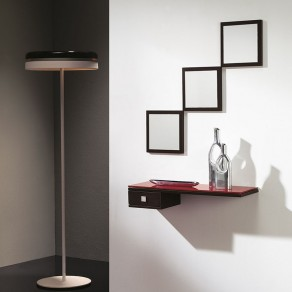Conjunto Recibidor 3 Espejos Cuadrados + Cajón + Estante Cristal